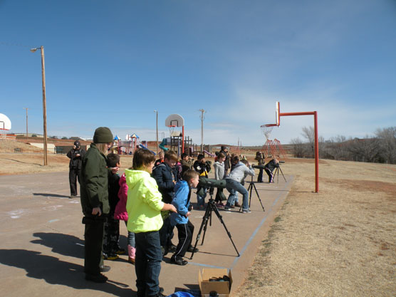 Students observing birds at Cheyenne Elementary School.