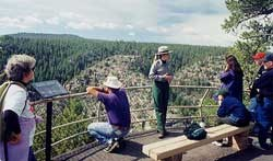 Ranger with visitors at canyon overlook