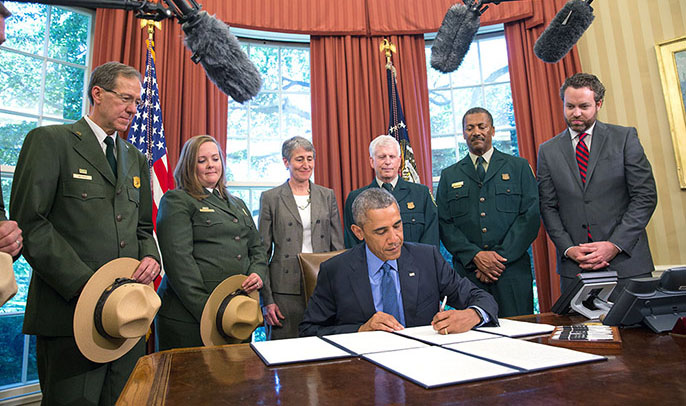 President Obama signs the proclamation creating Waco Mammoth National Monument.