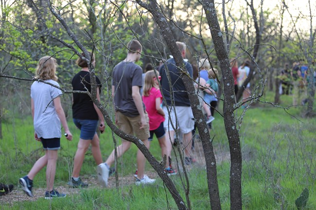 Visitors walking on Eagle Scout Trail