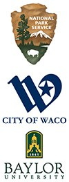 Logos of the National Park Service, City of Waco, and Baylor University.