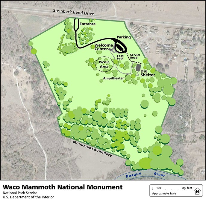 Map of Waco Mammoth National Monument