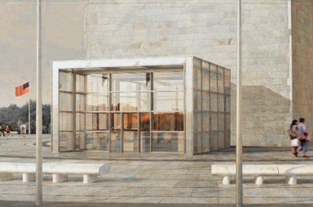 Rendering of the permanent screening facility at the Washington Monument