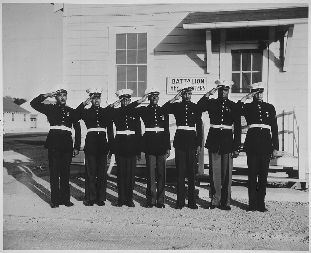 Marines at Montford Point show their dress uniforms.