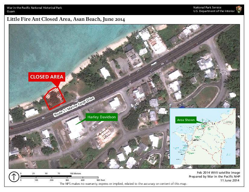 Asan Beach Closure Area (War in the Pacific National Historical Park (WAPA Tract # 102-19), including areas of Asan lot numbers 311-REM and 310-REM)