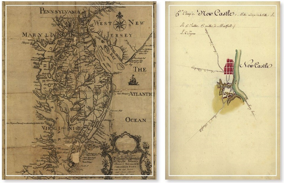 An 18th-century map of New Jersey, Maryland, Virginia, and Pennsylvania and an 18th-century map of New Castle, Delaware