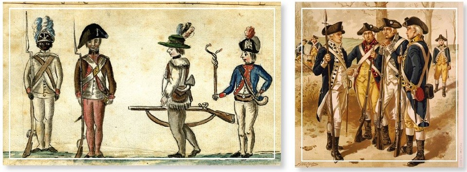 Two historic drawings of Revolutionary War soldiers