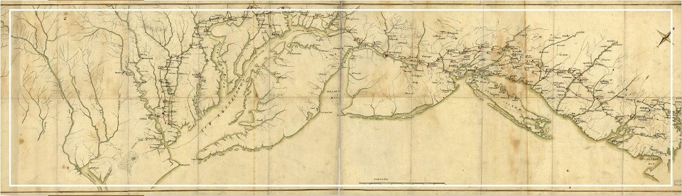 Late 18th-century map of the coast along Virginia to New York