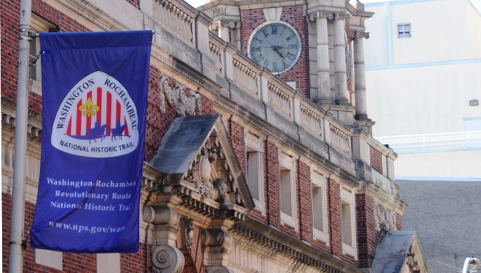 Washington-Rochambeau NHT banner on 2nd Street in Philadelphia