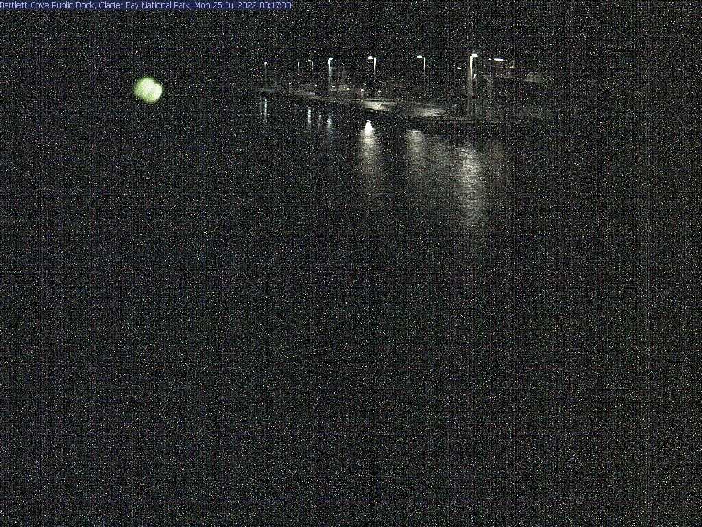 Live view from the public-use dock in Glacier Bay