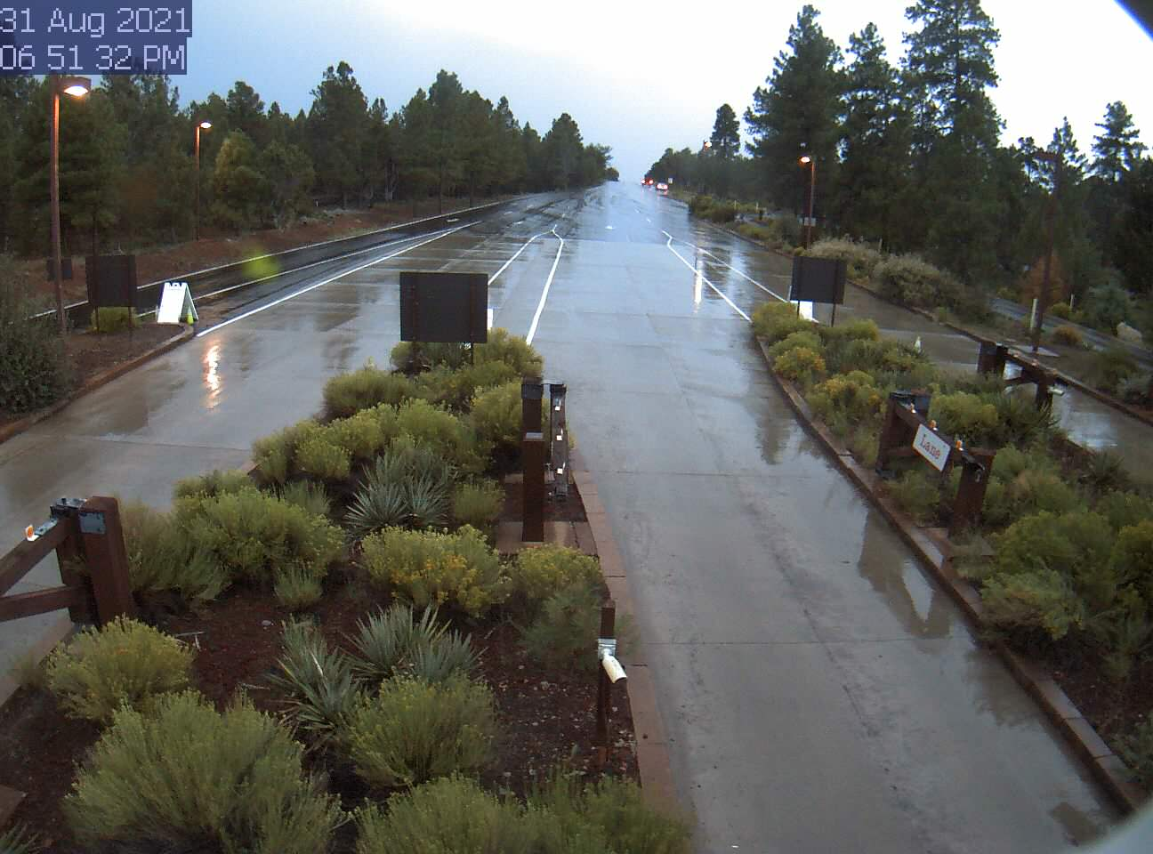 live view from Grand Canyon National Park South Entrance Station on the South Rim