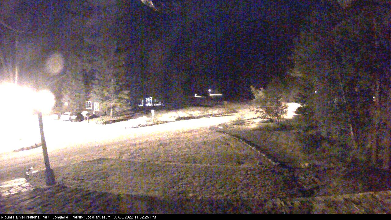 Looking southwest from the Administrative Building at the road entering Longmire. Thumbnail photo taken from webcam on October 11, 2012.
