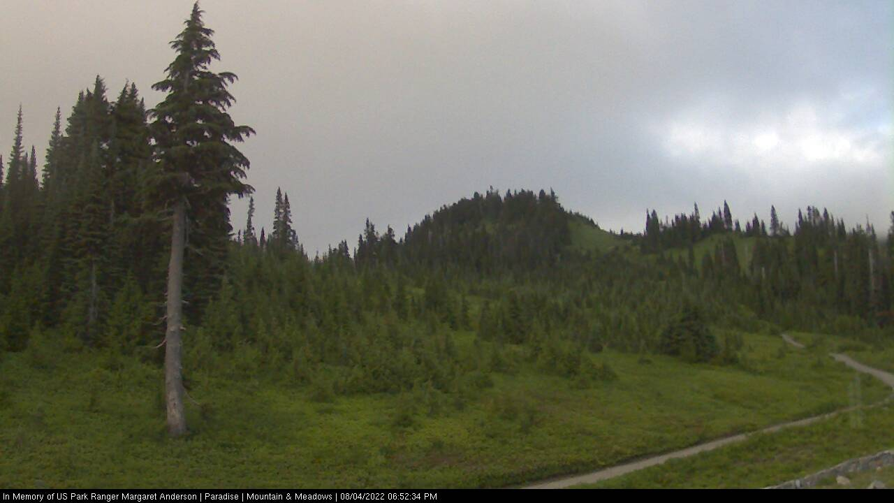 A view of Mount Rainier from the Paradise Visitor Center. Thumbnail photo taken from webcam on October 11, 2012.