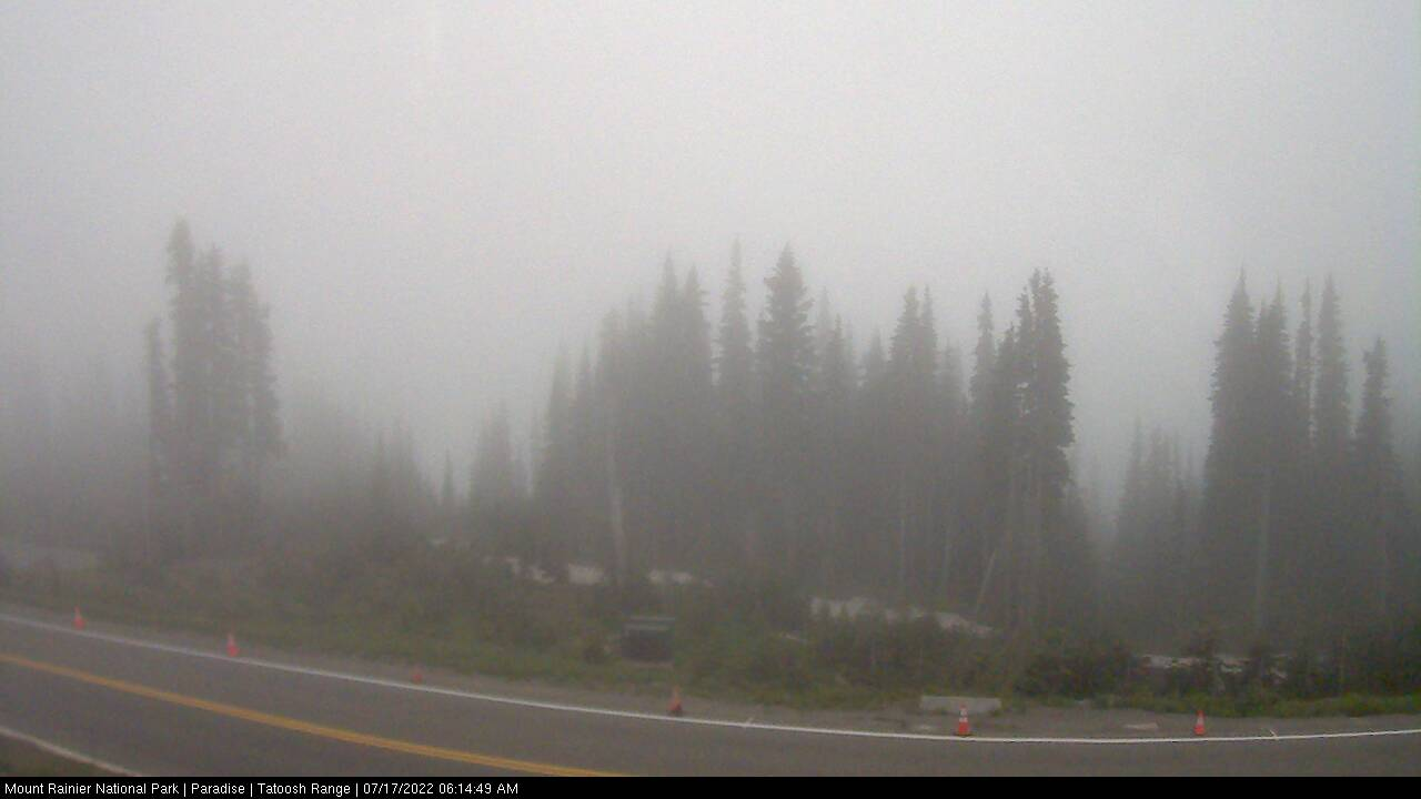 Looking south towards the Tatoosh Range from Paradise. Thumbnail photo taken from webcam on October 11, 2012.