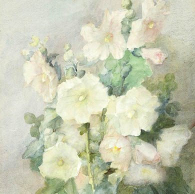 Julian Alden Weir. Hollyhocks (detail), 1879. Watercolor on off-white illustration board