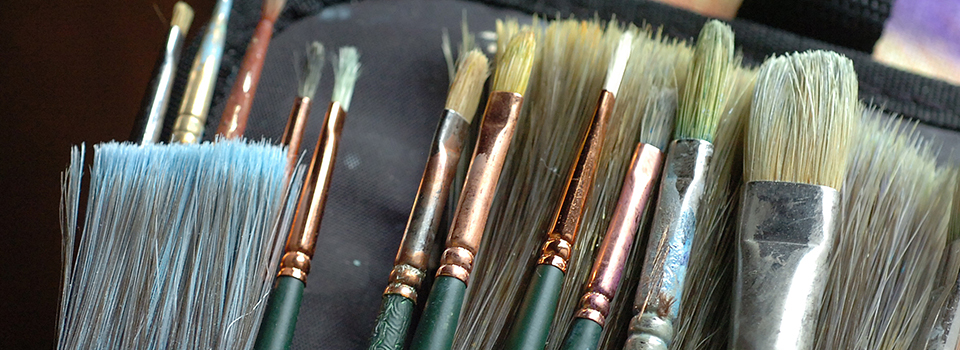 paint brushes, close up