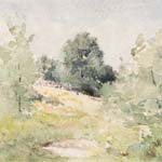 "Julian Alden Weir, Spring Landscape, Branchville, ca. 1882, watercolor on paper, 5"" x 6 3/4 "", Weir Farm National Historic Site."