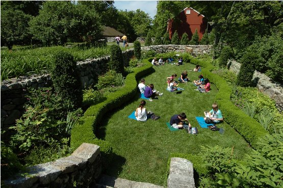 Students Paint in the Sunken Garden at Weir Farm National Historic Site