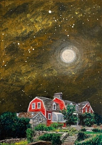 A painting of a red building at night with the moon in the sky.