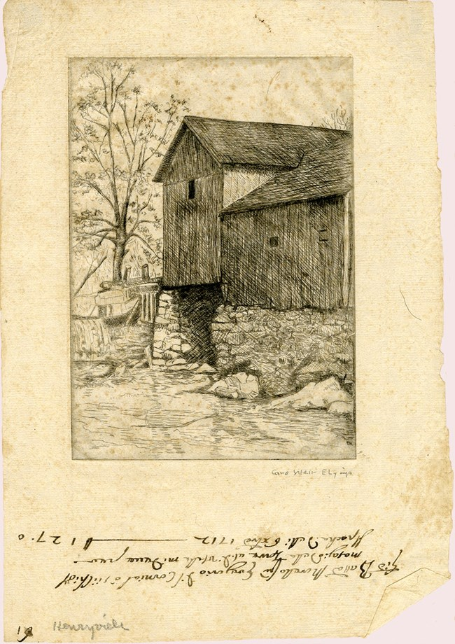 Etching of a mill over a stream.  The page was torn out of an old ledger, and has old writing on bottom of sheet.