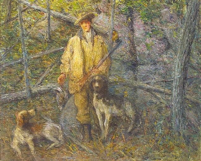 Painting by J. Alden Weir of a hunter and two dogs