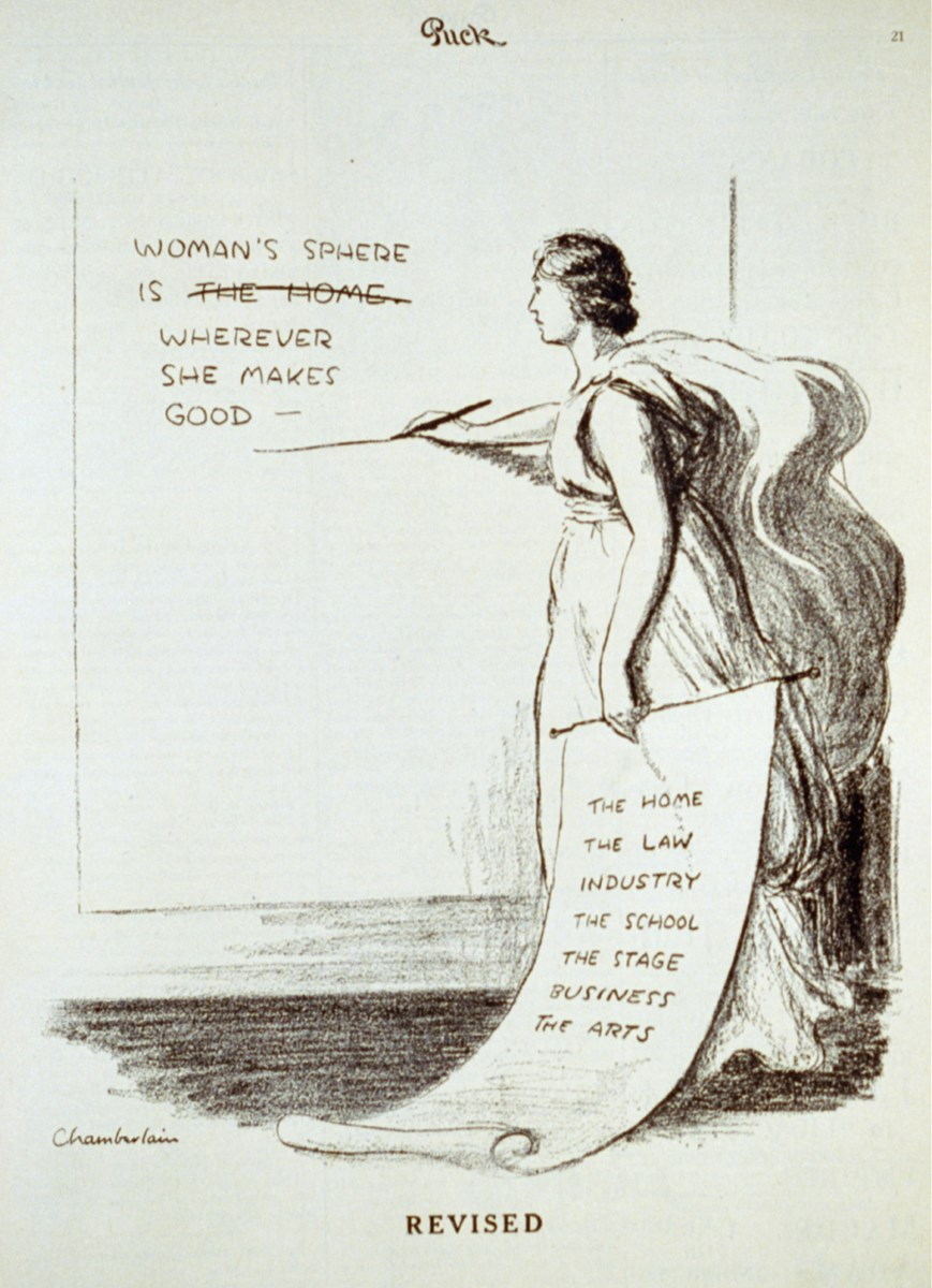 "Political cartoon showing a woman revising the text ""Woman's Sphere is Wherever she makes good"""