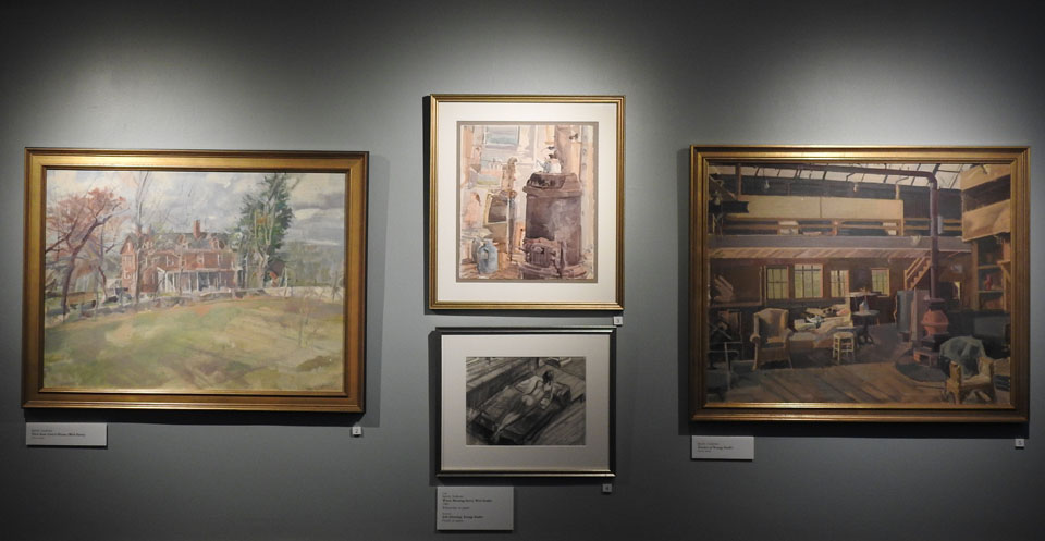 Four pieces of art showing the land, buildings and interiors of Weir Farm.