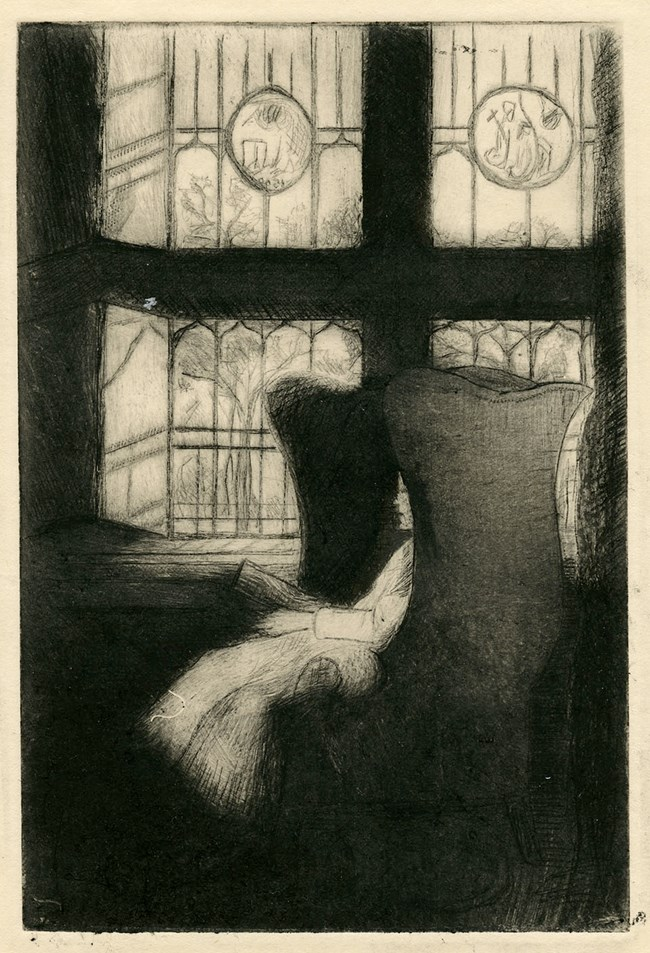 Artist's etching of a young girl sitting in a wing chair reading a book.   A large ornate window is behind her, with inset stained glass panels.