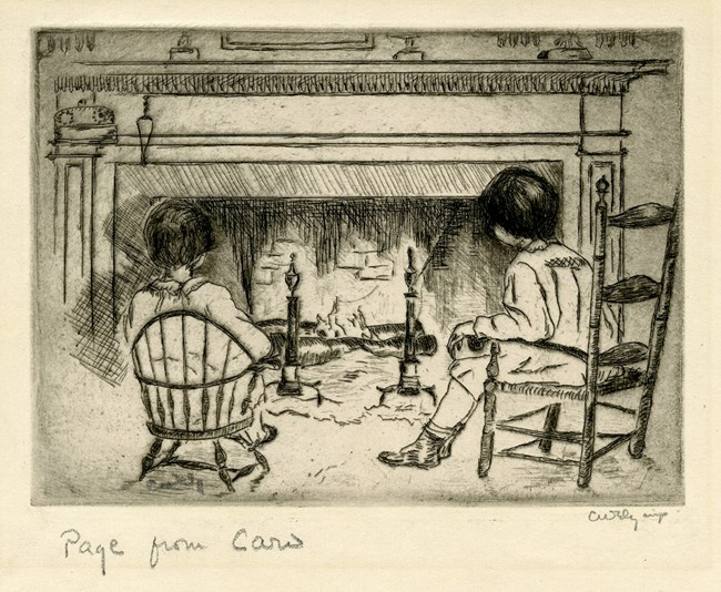 Etching of two young girls sitting in front of a large fireplace.  Girls are seen from behind, sitting in antique chairs.