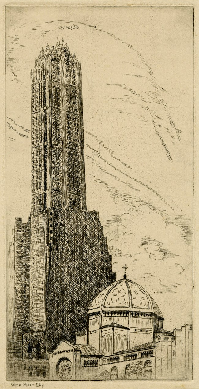 An etching of a church with a domed roof is dwarfed by a skyscraper in the background.