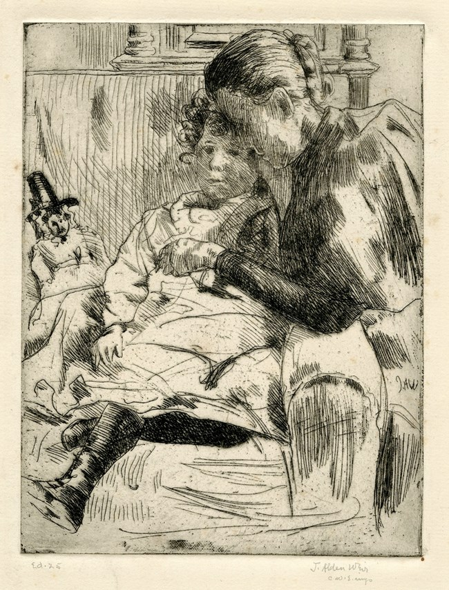 Artist's etching of a young girl sitting on a couch or large chair with a small doll next to her. The doll is wearing traditional clothing from Wales.  A woman is leaning over the couch art, her back to the viewer, looking at the young girl.