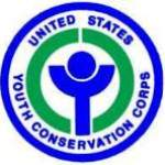 Youth Conservation Corps logo, round with text at border surrounding a stylized