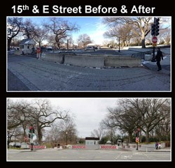 "Two images compare current conditions with concrete barriers and a rendering of future improvements with movable barriers that read ""stop."""