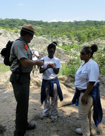YCC members at Great Falls with Park Ranger