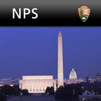 Image of NPS App launch screen showing the Washington Monument, the Lincoln Memorial, and the US Capitol at nighttime.