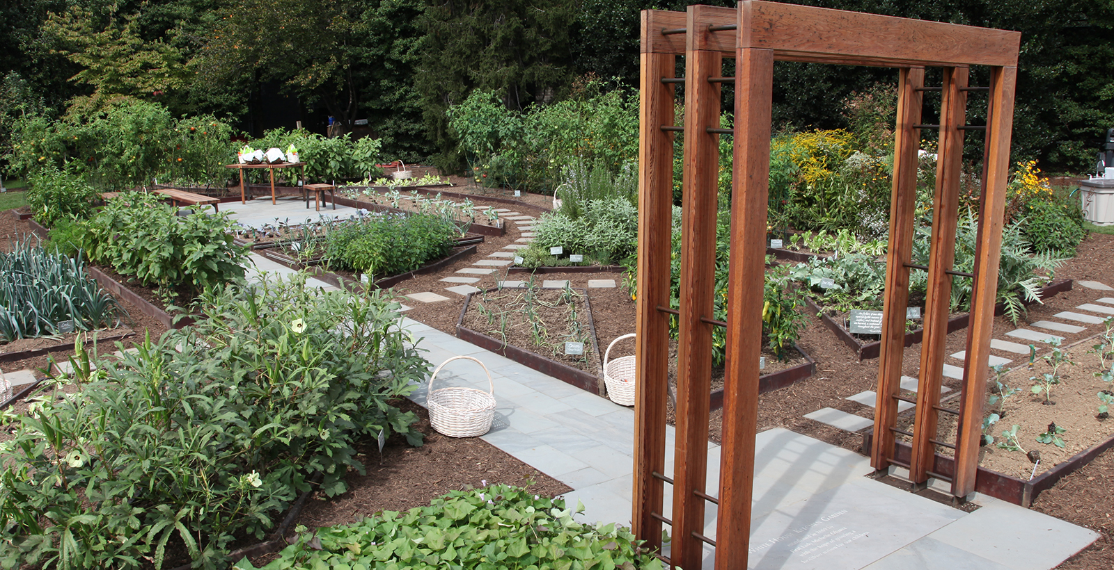A Vegetable Garden With A Wood Trellis.