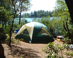 Lakeside camping at Oak Bottom Campground.