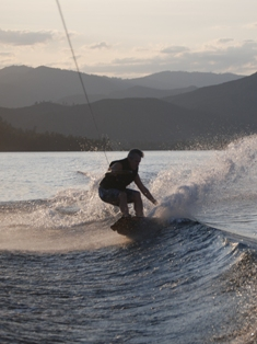 Dr. Paul Davis of Redding enjoying Whiskeytown's cool waters on his wakeboard.