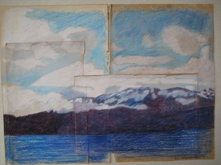 Image of Debee Olson's acrylic work on 100 year old paper