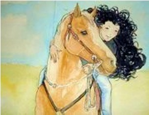 An illustration of Sophia and Cowboy the magic horse from the book