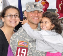 U.S. SFC (P) Ricardo Gutierrez with wife Yvonne and three year old daughter Adalina