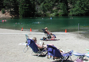 Sunbathers at Brandy Creek Beach.