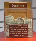 Donation box with money inside