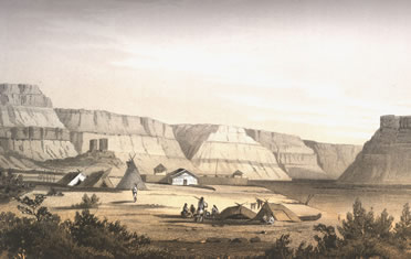 Painting depicting an Indian camp in front of a fort. High basalt cliffs of the Columbia Gorge are in the background.