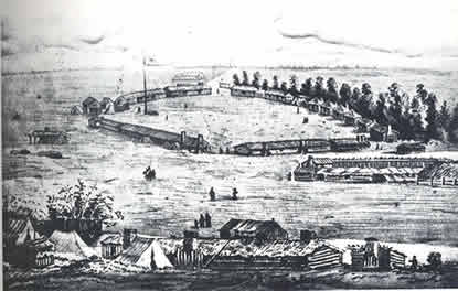 Drawing of Fort Walla Walla. Several buildings form a tight circle around a large field.