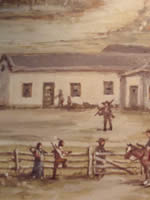 Section of Jackson painting of Waiilatpu mission, scene depicts people in front of one of the mission buildings.