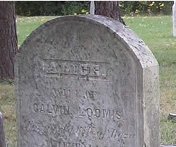 close-up of Alice Loomis' headstone