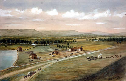 Painting of Whitman Mission as imagined by William Henry Jackson based on written descriptions.