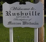 Welcome sign for Rushville, New York.