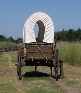 Replica wagon sits upon reconstructed ruts at Whitman Mission.